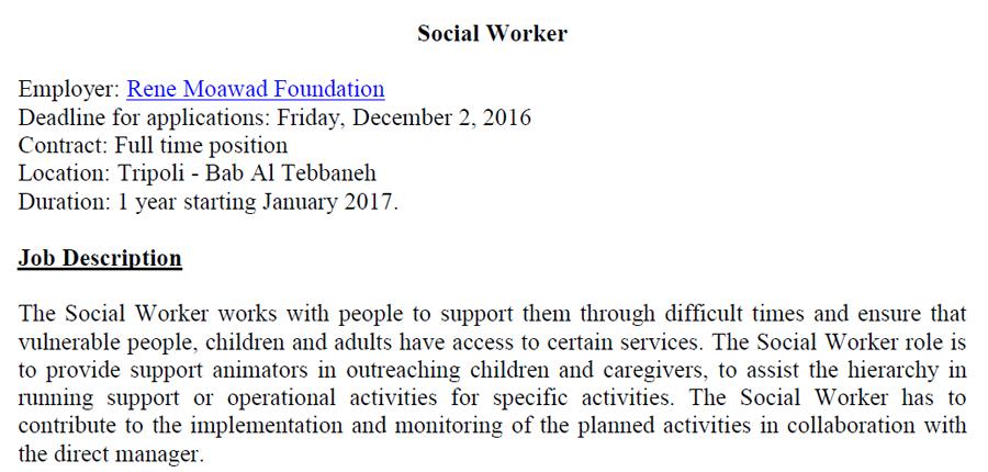 social work job description